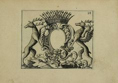 """17TH CENTURY HERALDRY DESIGNS (1695)  Select images from the book Nouveau Livre de Differens Cartouches, Couronnes, Casques, Supports et Tenans – roughly translated as a New Book of Different Cartouches (the central oval), Crowns, Helmets, and both Animal and Human Supports – engraved by Charles Mavelot and published in 1695 in France. The book's subtitle announces its practical use for """"painters, sculptors, engravers, goldsmiths, weavers, embroiderers and others"""""""