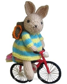 NOTE: You will receive the PATTERN to make your own toy NOT the finished toy!    What a lovely Bunny!  What a cute Bicycle!    He is so cute and