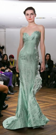 Tony Yaacoub Couture SS 2014 - Mint  mermaid style evening gown