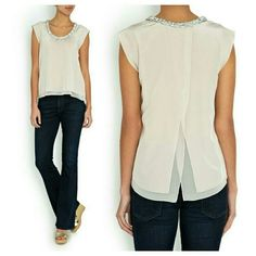Rebecca Taylor Clustered Crystal Top Size 2 Grey silk top with a very slight soft pink undertone from Rebecca Taylor featuring a scoop neck with embellished crystals, capped sleeves, vent to reverse, double layered hem and relaxed fit. Never worn!!  100% silk Dry clean Rebecca Taylor Tops Blouses