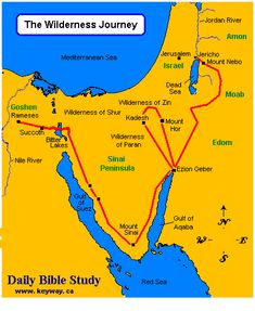 The route of the wilderness wanderings of the Israelites between the Exodus and their entry into the Promised Land is listed in Numbers 33:1-50. The map below plots the major points along that journey.