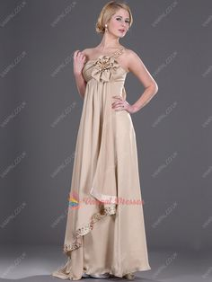 135.00$  Buy here - http://vihph.justgood.pw/vig/item.php?t=zp6now816805 - Champagne One Shoulder Beaded Chiffon Prom Dresses With Flowers