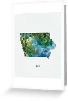 Iowa Map  #iowa #desmoines #unitedstates #usa #state #map #art #print #post #greeting #card #stationery #gift #ideas #shopping #abstract #travel #watercolor #colorful #stencil #typography