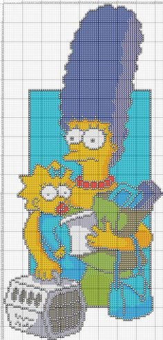 Marge and Maggie Simpson x-stitch