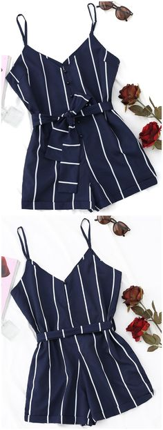 Up to 80% OFF! Striped Belted Cami Romper. #Zaful #Jumpsuits #Romper zaful,zaful outfits,zaful dresses,spring outfits,summer dresses,Valentine's Day,valentines day ideas,valentines outfits,cute,casual,classy,fashion,style,bottoms,shorts,jumpsuits,rompers,playsuits,playsuit outfit,dressy jumpsuits,playsuits two piece,two piece outfits,two piece dresses,dresses,printed dresses,sundresses,long sleeve dresses,mini dresses,maxi dresses,lace dress,bohemian dresses ZAFUL | Women's Clothing On...