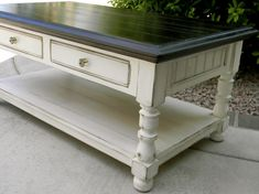 Dark walnut stain, Valspars Betsy's Linen paint, distressed, antiquing glaze, glass knobs...love