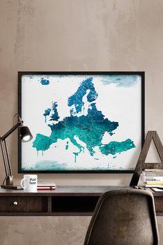 Europe map, Art, Print, Watercolor, Europe watercolor, Poster, Art, watercolour, World map art, Artwork, Wall art, Home Decor, iPrintPoster