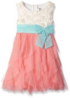 Ivory and pink cascade flower girl dress.