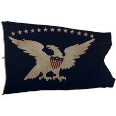 13-Star Eagle American Ship Swallow-Tailed Pennant Flag.  USA  Circa 1840