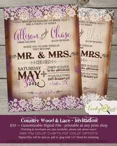 Country Wood & Lace Wedding Invitation Bold, Rustic, Shabby Chic, Fun, DIY,Shower, Rehearsal Dinner, Cowgirl, Barn, Purple Ivory Gray on Etsy, $30.00