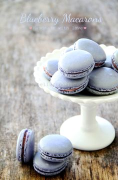 Blueberry Macarons are so freaking good i want one everyday of my life yet i have only had one in my life