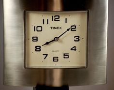 Timex Mid Century Style Brushed Chrome Aluminum Square Wall Clock