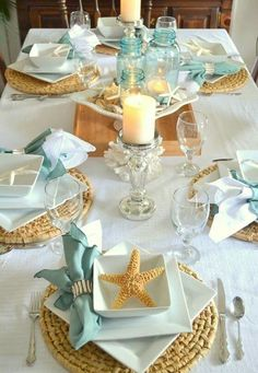 Beach themed tablescapes