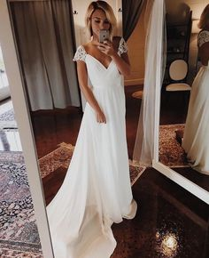 Simple A Line Chiffon Wedding Dresses Cap Sleeve V Neck Bohemian Beach Bridal Gowns - Braut Wedding Dress Chiffon, Cute Wedding Dress, White Wedding Dresses, Modest Wedding, Boho Wedding, Wedding White, Mermaid Wedding, Dream Wedding, Fall Wedding