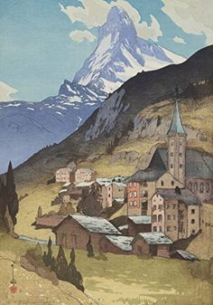 "Japanese Art Print ""The Matterhorn (Matahorun-Yama)"" from the European Series by Yoshida Hiroshi. Shin Hanga and Art Reproductions http://www.amazon.com/dp/B00ZACZN3M/ref=cm_sw_r_pi_dp_HHTvwb0FAE1WT"