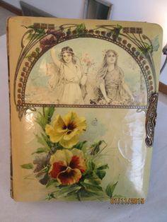Antique 1800's Victorian Photo Album Celluloid Velvet Communion Christening