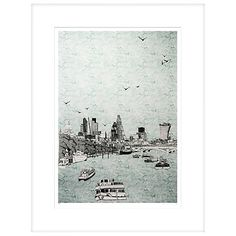Buy Clare Halifax - Sailing Through London Limited Edition Framed Screenprint, H93 x W73cm Online at johnlewis.com