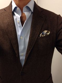 Brown herringbone with blue shirt