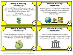 FREE!!! Money: You will receive 6 free task cards focusing on money and banking vocabulary. Students are given a definition and must choose the correct vocabulary word. A word bank is also provided. A student response form and key are provided. You will also receive scavenger hunt directions and 20 other uses for these task cards.