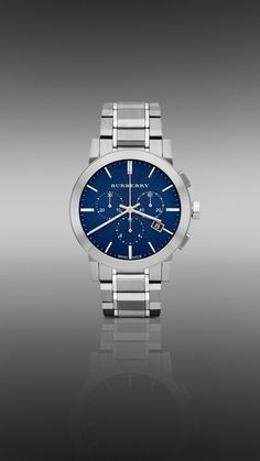 Burberry Chronograph Blue Dial Stainless Steel Mens Watch Nice stainless steel watch with a beautiful deep blue dial. A very distinctive look for all occasions! Luxury Watches, Rolex Watches, Wrist Watches, Burberry Watch, Mens Watches For Sale, Elegant Watches, Stainless Steel Watch, Digital Watch, Chronograph