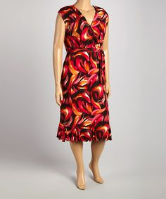 Another great find on #zulily! Coral & Brown Brushstroke Wrap Dress - Plus by Glamour #zulilyfinds