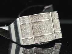 Diamond Pinky Ring Men's 10K White Gold Finish Round Cut Statement Band 2.45 Ct #br925 #MensWeddingRing #EngagementWeddingAnniversaryPartyBirthdayGift