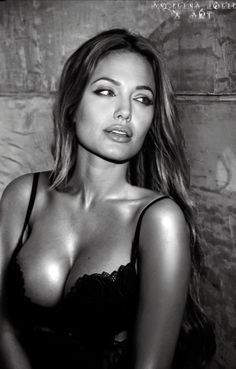 Angelina Jolie sexy actress in black & white photo. Calendars of sexy women at sexy-calendars.com