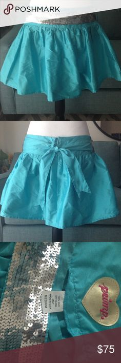 """Primp silk skirt with sequin belt-Rare and NWOT Adorable 100% silk skirt with detachable silver sequin belt. Never worn. As seen on """"The O.C.""""😎 Primp Skirts A-Line or Full"""