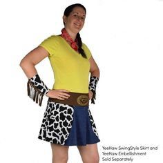 Channel your favorite animated toy cowgirl or tap into your Western side with these cow-print fringe cuffs & red foil bandana. Perfect country running costume!