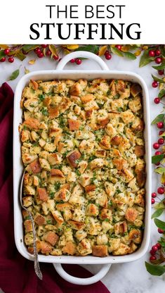 Stuffing Recipe - Cooking Classy Stuffing Recipe - this is my FAVORITE stuffing! It's perfectly moistened in the center, browned and crisp on the edges and brimming with butter and herb flavor. A fall staple! Best Stuffing Recipe, Homemade Stuffing, Stuffing Recipes For Thanksgiving, Thanksgiving Side Dishes, Stuffing In Turkey, Baked Stuffing, Thanksgiving Dinner For Two, Southern Thanksgiving Recipes, Salads