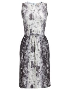 Grey abstract print dress; pattern fashion // Calla