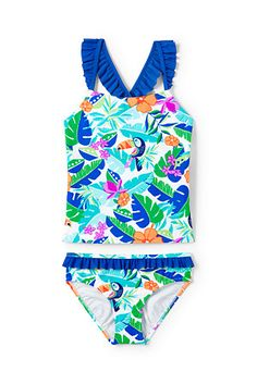 Girls' Sun Ruffle Trim Tankini Set