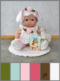 5 inch Berenguer Baby doll at Easter with color palette