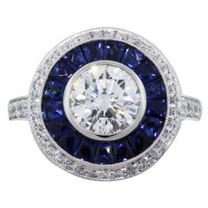 Round 1.50 Carat Diamond Art Deco Style Engagement Ring with Sapphires and Diamonds