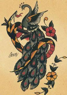 Peacock n Snake #SailorJerry #tattoo