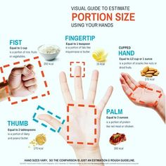 PORTION SIZES GUIDE - Take a look at the picture above, I hope this helps anyone who struggles to decide how to measure the amount of food they have. - I personally track my macros and measure things out by grams, which is another and in my opinion the most accurate way, but using hands is still a much better way than none at all, and gives you more control of your food intake but without the stress of scales or numbers. You don't have to track calories to make better choices and see…