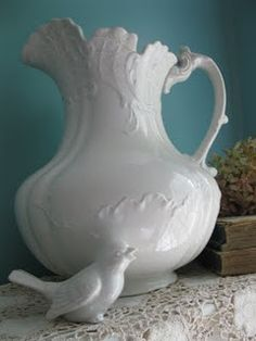 Lovely white pitcher vignette