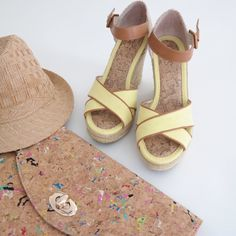 """LOFT Yellow & Tan Wedges A beautiful pair of wedges that are 4.25"""" in height with a 1"""" platform. Cognac leather ankle strap with yellow canvas fabric. Perfect condition! LOFT Shoes Wedges"""