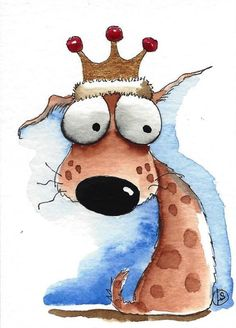ACEO Original watercolor whimsical animal painting art puppy dog king of the castle #Folkartillustration #dog #king