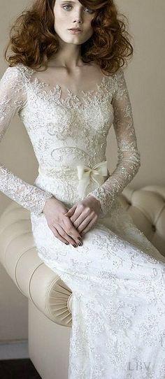 Long sleeve bridal style Sareh Nouri 2015 Spring Collection | LBV S14 ♥✤