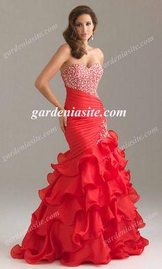 Mermaid/Trumpet Sweetheart Sweep Train Bead Applique Bead Organza Evening Dresses 2014 - Gardeniasite