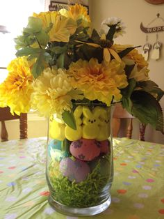 Easter Bouquet made with plastic eggs and Peeps bunnies.