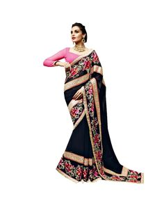Blue Resham Embroidery Saree To know more or buy, please click Below:- http://www.ethnicstation.com/blue-resham-embroidery-saree-vl1768     #EthnicWear