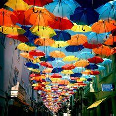 umbrella art installation