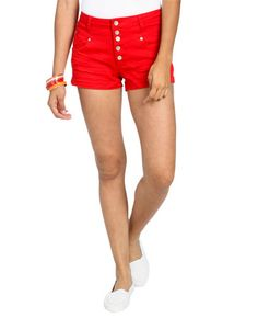 Color 5 Button High Waisted Short - Shorts