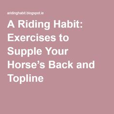 A Riding Habit: Exercises to Supple Your Horse's Back and Topline