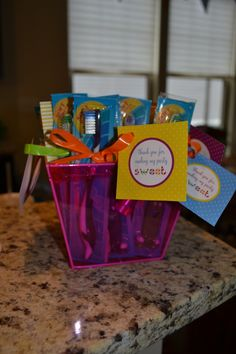 Candyland Birthday Party Ideas: A toothbrush favor at the end of the Candy Bar!