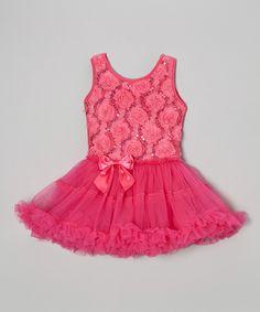 Fuchsia Sequin Rosette Tutu Dress - Infant, Toddler & Girls by Sparkle Adventure