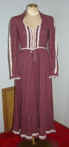Vintage 70s Gunne Sax Burgundy & Blue Prairie Dress Lace Bodice S 35 Bust #GunneSax
