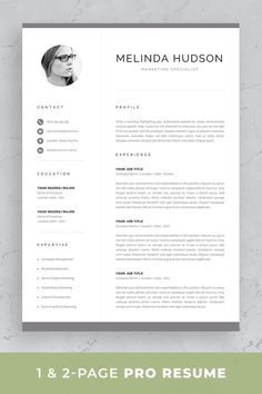 Professional resume template set with one-page and two-page resume designs with matching cover letter and references sheet for a complete and consistent presentation. Executive Resume Template, One Page Resume Template, Modern Resume Template, Cv Template, Creative Resume Templates, Job Resume, Student Resume, Resume Tips, Resume Ideas